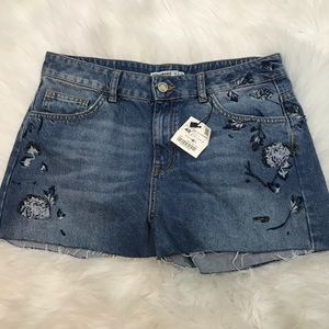 Zara Basics 1975 Denim Embroidered Jean Shorts